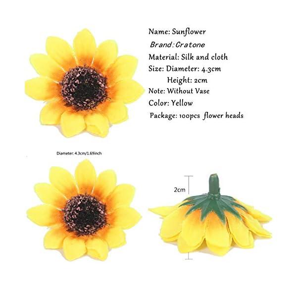 Cratone 100 Cabezales de Girasol Artificiales de plástico para Novia Baby Shower simulación de Flores decoración de Boda…