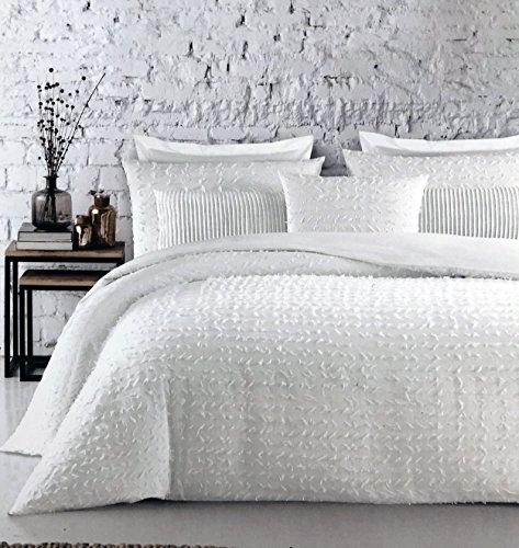 ENVOGUE Betten 3Stück Full/Queen Size Bettbezug-Set Massiv Weiß Landhaus Shabby Chic Gewinde Strukturierte ohrbüschel-eingeclipt Jacquard -