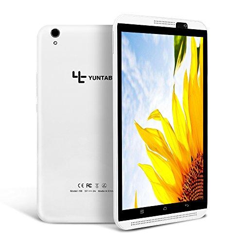 YUNTAB Tableta de 8 Pulgadas,con MT6735P Procesador Quad Core, Android 6.0,Doble SIM 3G/4G, 2GB+16GB, Pantalla táctil IPS,resolución 800x1280, Doble cámara,WiFi, Bluetooth, GPS, OTG(Blanco)