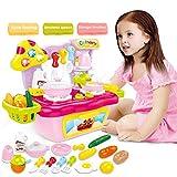 HERSITY 18 Stück Küche Spielzeug Kochen Spielküche Zubehör mit Licht und Soundeffekt Kochgeschirr Rollenspielzeug Geschenkset für Kinder Mädchen(Zufällige Farbe)