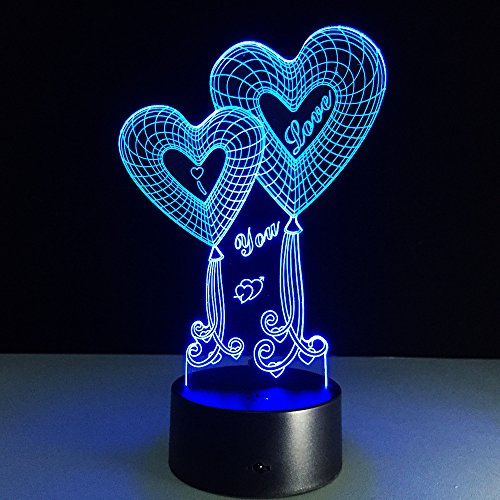 ZTYR Regali creativi di 3D colorato amore USB telecomando LED (Amore Candela Di Unità)