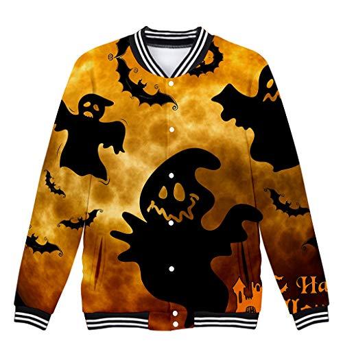 LILIGOD Baseballjacke Frauen Halloween Jacken Langarm Jacke Horror Druck Partei Jacket Casual Bequem College Jacke Mode Wild Sweatjacken mit Tasche Streetwear Jacke (Capri-baumwoll-leibchen)