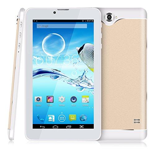 7 Zoll 3G Tablet PC,512 RAM+8G ROM,Dual-SIM,IPS HD Display 1024x600,Quad Core CPU,Android 4.4.2,WIFI WLAN Bluetooth,4 Farben zur Wahl Gold von QIMAOO (Gsm 7-zoll-tablet-telefon)