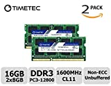 Timetec Hynix IC 16GB Kit (2x8GB) DDR3L 1600MHz PC3-12800 Unbuffered Non-ECC 1.35V CL11 2Rx8 Dual Rank 204 Pin SODIMM La
