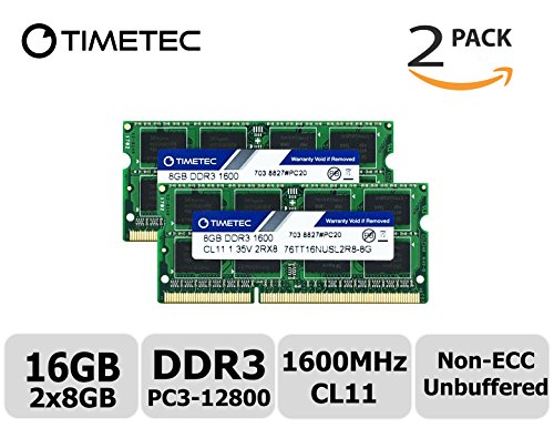 Timetec Hynix IC 16GB Kit (2x8GB) DDR3L 1600MHz PC3-12800 Unbuffered Non-ECC 1.35V CL11 2Rx8 Dual Rank 204 Pin SODIMM Laptop / Notizbuch Arbeitsspeicher Module Upgrade (16GB Kit (2x8GB)) (Ram Für Vaio Laptop)