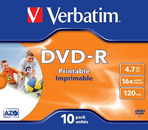 Verbatim 43521 DVD-R 16x 10-pack Printable Optical Media