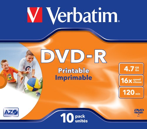 Verbatim 43521 4,7 GB 16 x DVD-R bedruckbar - 10er Pack Jewel Case