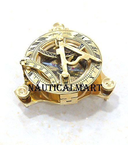 Galleria fotografica Brass Sundial Compass – Bussola tascabile 7,6 cm By Nauticalmart