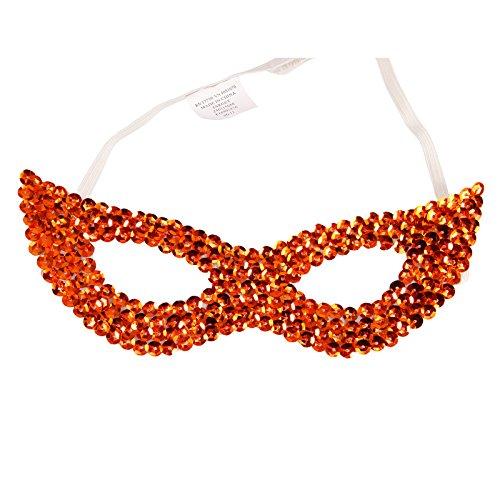 ske Glänzende Damen Herren Orange Bling Strass Paillette für Karneval Fasching Halloween Party Hochzeit ()