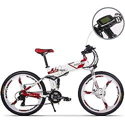 JIMAI Rt-860 Mans plegable bicicleta eléctrica, híbrida de montaña MTB bicicleta de doble suspensión, 250 W, 36 V, 21 velocidades, con bicicleta de pie bomba de aire, un conjunto de herramientas, her