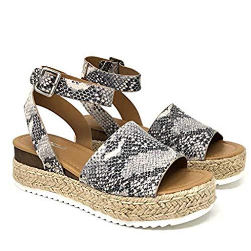 Quaan Womens Open Toe Ankle Pumps Stroh dicken Boden Schuhe Snake Grain römische Sandalen