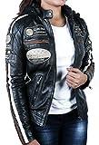 Damen Motorradjacke mit Protektoren, Schwarz, Große : L für Damen Motorradjacke mit Protektoren, Schwarz, Große : L