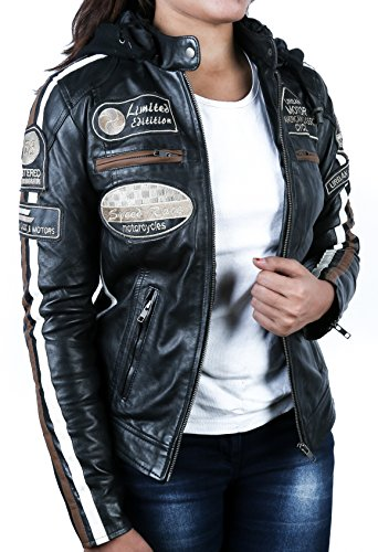 Urban Leather Damen Motorradjacke mit Protektoren, Schwarz, L - 4