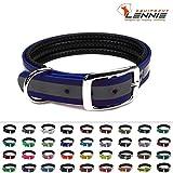 LENNIE BioThane Halsband, gepolstert, Dornschnalle, 25 mm breit, Größe 32-40 cm, Blau-Reflex, Aufdruck möglich