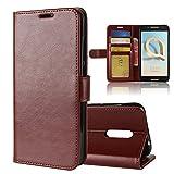 Alcatel A7 XL Hülle Brieftasche Hülle PU+TPU Kunstleder Handyfall für Alcatel A7 XL mit Stand Funktion Ein Stent-Funktion (Braun)