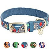 Blueberry Pet Sport Fan Tennis Designer Hundehalsband in Petrol-Blau, M, Hals 33cm-42cm