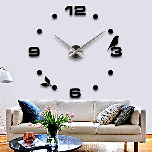Vinteen moderno minimalista fai da te personalizzato orologio digitale orologio grande orologio da parete moda 3d creativo soggiorno orologio da parete tv sfondo adesivi murali orologio orologa (nero / oro / argento) ( color : black )