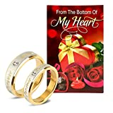 Peora Valentine's Day Gold Non-Precious Metal Hamper of Couple Ring with Greeting Card for Men and Women