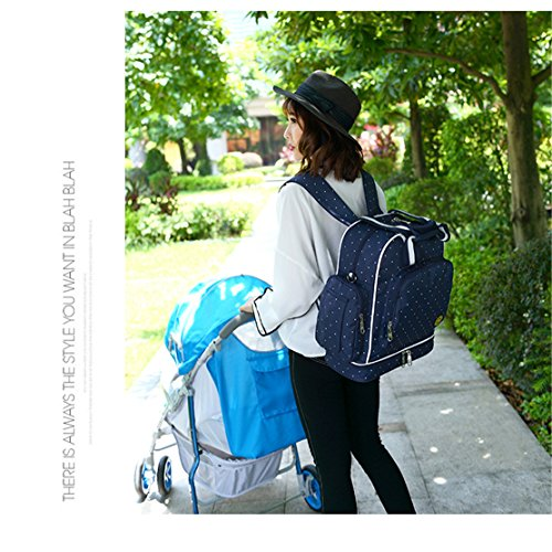 Chilsuessy Schwangerschaft Tasche Pflegetasche Windeltasche Babytasche Wickeltasche Multifunktionale Mama Handtasche mit Befestigung für Kinderwagen, Rot Dunkelblau