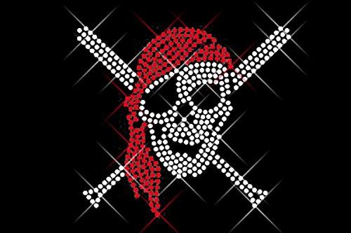 Karibik Piraten Bluse - Luxflair Strassstein Motiv Piraten-Totenkopf, XXL Strass
