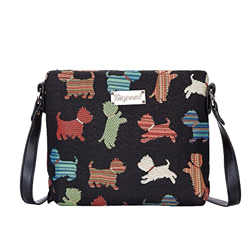 Signare Tapisserie femmes Mini sac en bandoulière sacoche coloré chiots de Westie, Shih Tzu, Malte (Xb02-puppy)