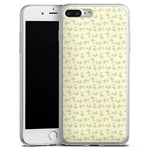 Apple iPhone 8 Plus Slim Case Silikon Hülle Schutzhülle Blumen Muster Vintage Silikon Slim Case transparent