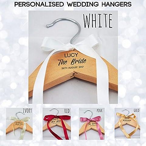 Bride Personalised Wedding Bridal Bridesmaid Keepsake Prom Coat Hangers - Laser Engraved, NO Vinyl Stickers Used – Top Quality Personalised Wedding Dress Coat Hanger -