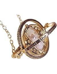 Time Turner Collar Mágico Falcao Horcrux Colgante de Reloj de Arena en Bolsa de Terciopelo