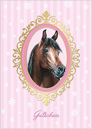 Gutschein als Klappgrußkarte zum Kinder Geburtstag Grußkarte, Geschenkgutschein, Gutscheinkarte mit Rosa Streifen für EIN Mädchen mit Einem Pferd in Einem Ornament-Rahmen. (Mit Umschlag) (1)