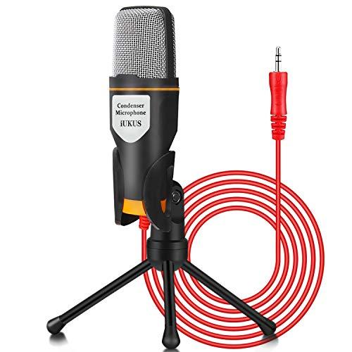 iUKUS PC Mikrofon mit Mikrofonständer, professionelles Kondensatormikrofon, 3,5 mm Klinkenstecker, kompatibel mit PC, Laptop, iPad, iPhone, Mac-Recorder, Singen, YouTube Skype, Gaming