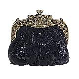 Damen Abendtasche Vintage Bestickt Wulstige Clutch Bag Fashion Silk Bankett Tasche Cheongsam Braut Tasche Dinner Chain Handtasche,Black-18 * 6.5 * 15cm
