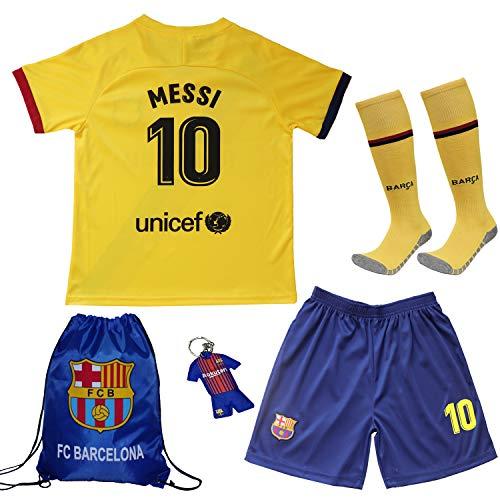 TMB 2019/2020 Leo Messi #10 Barcelona Auswärts Auswärtstrikot Kinder Fußball Trikot Hose und Socken Kindergrößen (Auswärts, 22 (5-6 Jahre)) - Jungen Messi Trikot