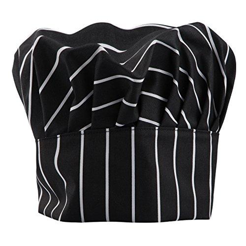 TRIXES Profi Chefkoch Kochmütze mit schwarzen & weißen Streifen