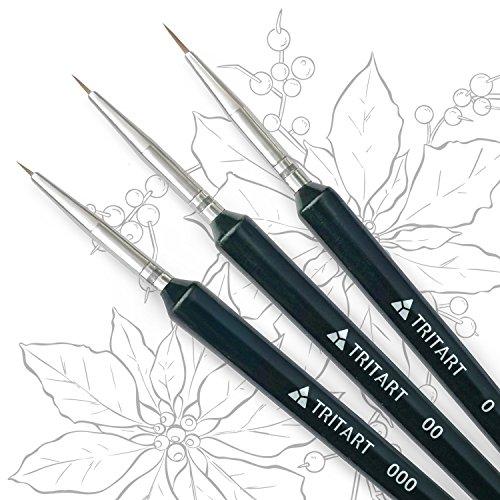 Kolinsky Pinselset fein - Pinsel für Aquarell, Acryl und Öl - Echthaar Test