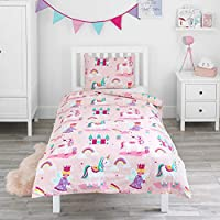 Bloomsbury Mill - Magic Unicorn, Fairy Princess & Enchanted Castle - Kids Bedding Set - Pink - Single Duvet Cover and Pillowcase