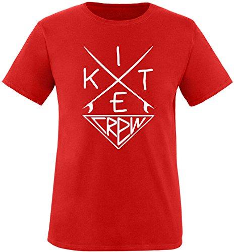 EZYshirt® Kitesurf Crew Herren Rundhals T-Shirt Rot/Weiss