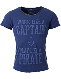 f08f3fb4d98c Key Largo Herren T-Shirt Captain mit Anker Print Motiv Vintage Look Tiefer  Rundhals Ausschnitt
