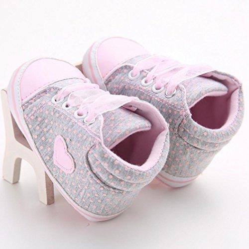 Ouneed® Bebe Chausson Lacet Premier Pas Velcro Tollder Shoes (11, Rose) Gris