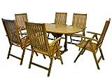Divero Terrassenmöbel-Set Gartenmöbel-Garnitur Sitzgruppe – großer Esstisch 180/240 cm ausziehbar + 6 Hochlehner mit Armlehne – Akazie massiv behandelt