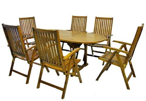 Butterfly-tisch-stuhl-set (Divero Terrassenmöbel-Set Gartenmöbel-Garnitur Sitzgruppe - großer Esstisch 180/240 cm ausziehbar + 6 Hochlehner mit Armlehne - Akazie massiv behandelt)