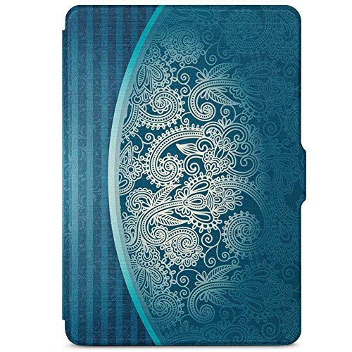 Scrox Amazon Kindle Lederhülle und Kindle Paperwhite Hülle Mit Auto Sleep/Wake, Cover Case für Kindle paperwhite2/3, Blaues Totem Muster (Kindle Paperwhite2 Cover)