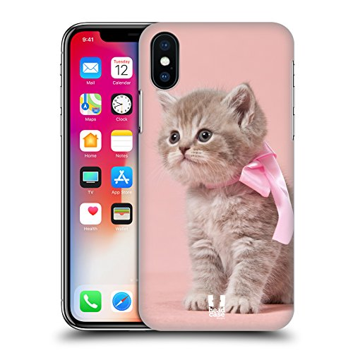 Fall + Tempered Glas/_ superdünn Polycarbonat Snap on Passt Apple iPhone X Pink Katze Kätzchen Kitty mit Schleife Alltel-snap