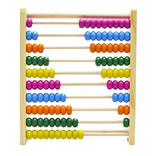 Jef Wooden Abacus 10 Grades Multi-Color Wooden Instrument-3559