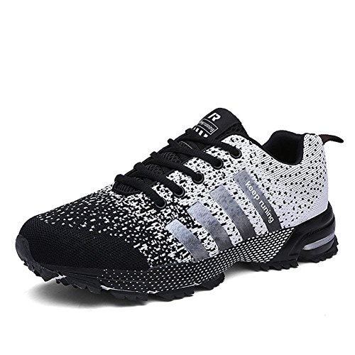 Men Women Casual Sports Running Shoes Air Trainers Jogging Fitness Flats Lightweight Gym Athletic Sneakers(blackwhite43)