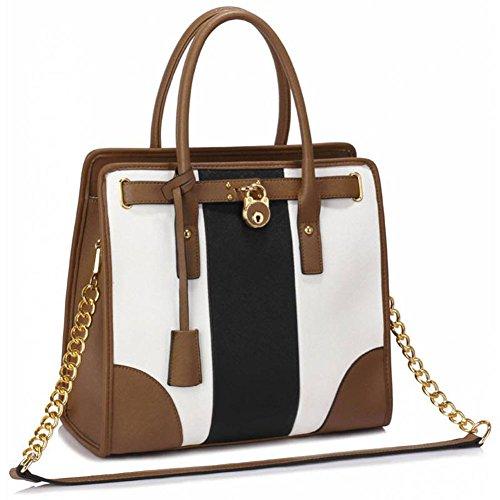TrendStar Damen Shopper Handtasche Große Leder Womens Maxi-Tasche Tote-Schulter-Designer. (Pocket Front Leder Hobo)