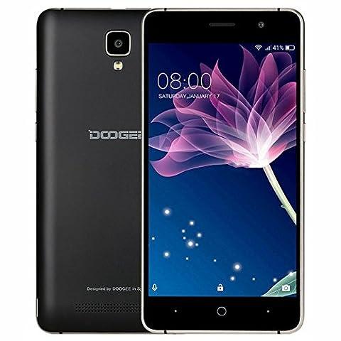 Smartphone Pas Cher Sans Forfait, DOOGEE X10 Telephone Portable Debloqué 3G (Écran: 5 Pouces IPS - 8Go - 512 Mo de RAM - Appareil Photo 5MP - 3360mAh Grand Capacité - Android 6.0 - Double SIM) Noir