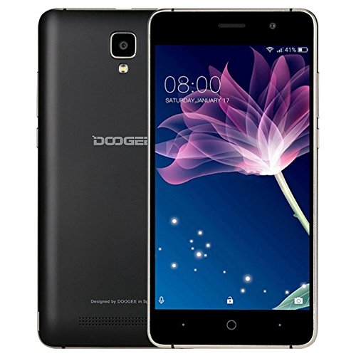 Smartphone Pas Cher Sans Forfait, DOOGEE X10 Telephone Portable Debloqué 3G (Écran: 5 Pouces IPS - 8Go - MT6570 Cortex-A7 - Appareil Photo 5MP - 3360mAh Grand Capacité - Android 6.0 - Double SIM) Noir