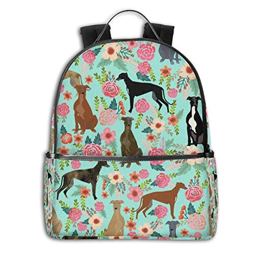 Greyhound Floral Cute Dog Mint School Backpack Travel Back to School Men Women(Christmas Snowman)