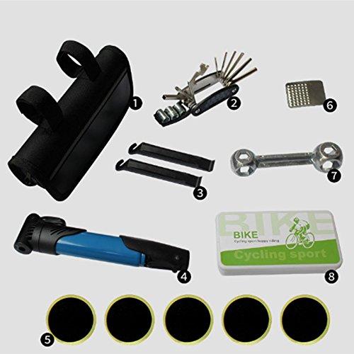 G-W-J A35 Fahrrad Reparatur Kit - 120 PSI Minipumpe und 16-in-1 Fahrrad Multitool mit Handtasche Inklusive Gummireifen Reifenpatch und Reifenheber,Blacka32
