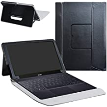 """Acer Switch 3 Funda,Mama Mouth 2-en-1 Portafolio de Cuero Sintético con Soporte y Base de Teclado desmontable para 12.2"""" Acer Switch 3 SW312-31 Series Windows 10 Tablet,Negro"""